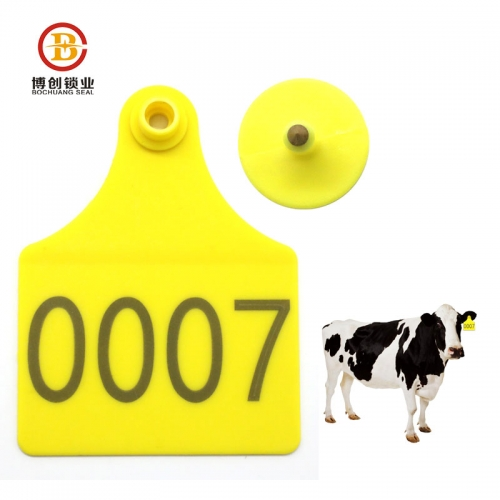 Tamper proof animal plastic cow cattle ear tag for livestock farm