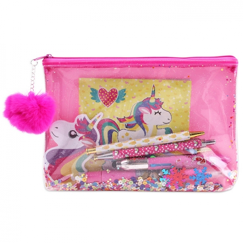 Transparent Glitter Pencil Case