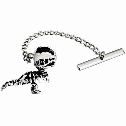 Men's Tie Tack Dinosaur Skeleton Pattern Men Necktie Accessory- HAWSON