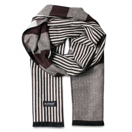 Men's Classic Winter Knitted Stripped Scarf for Customized - Black