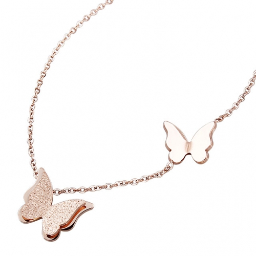 Elegant Rose Gold Butterfly Necklace for Women