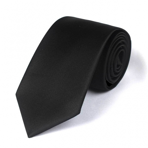 Mens Black Stripe Tie for Business Wedding Party in Gift Box