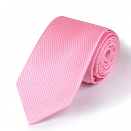 Solid Polyester Textile Tie Pink Neck Tie