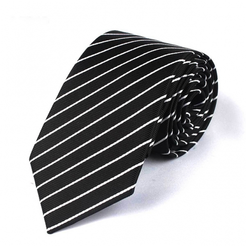 Black White Stripe Tie with Polyester for men in Gift Box