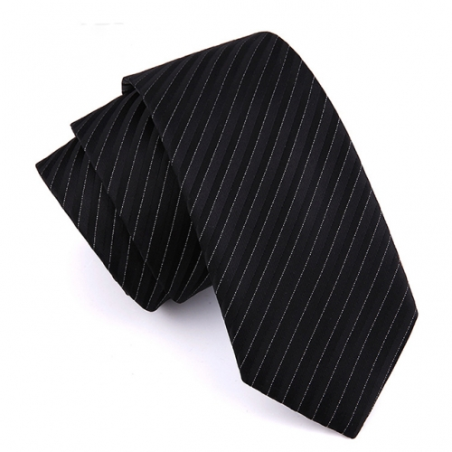 Men's Classic Stripe Tie Black Necktie Formal Party College Daily Polyester Business Neckties