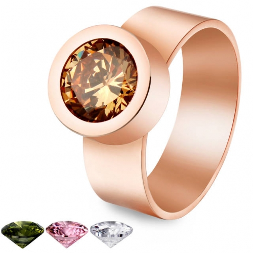 New Arrive Rose Gold Replaceable Crystal Ring-HAWSON