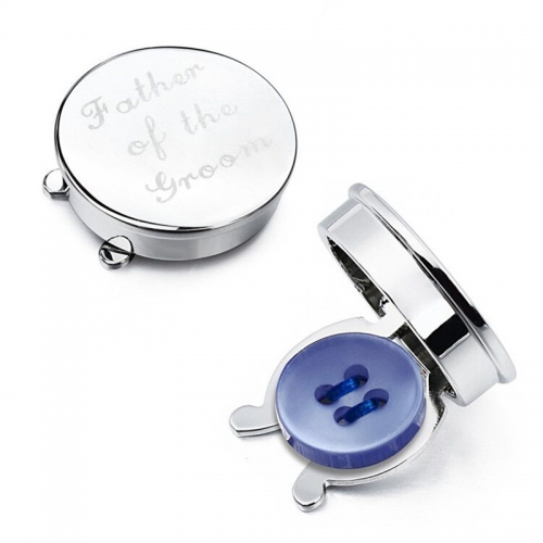 "HAWSON Imitation Rhodium Plated ""Father of the Groom"" Letter Button Covers for Men's Shirt with Gift Box"