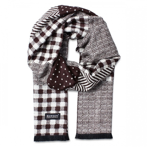 Brown Plaid Scarf, Snowflake Spot Scarf, Comfortable Viscose Scarf