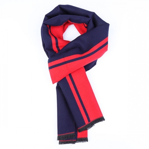 Bright Red & Navy Blue Scarf With Gift Case