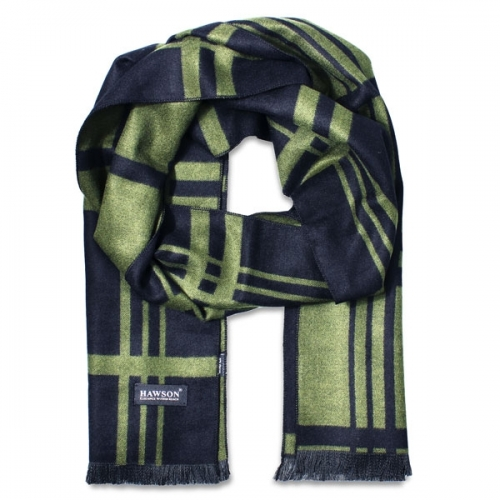 Grass green & Navy blue Striped Scarf