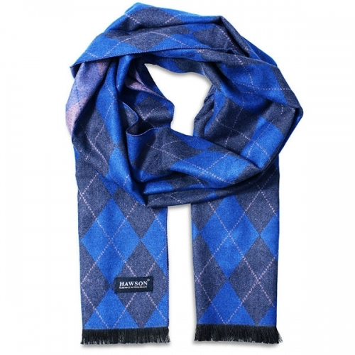 Blue & Charcoal Plaid Scarf for Men