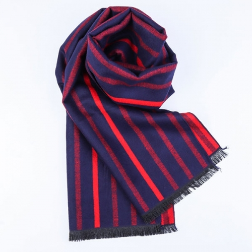 Red & Dark Blue Scarf, Softable Striped Shawl for Christmas Gift