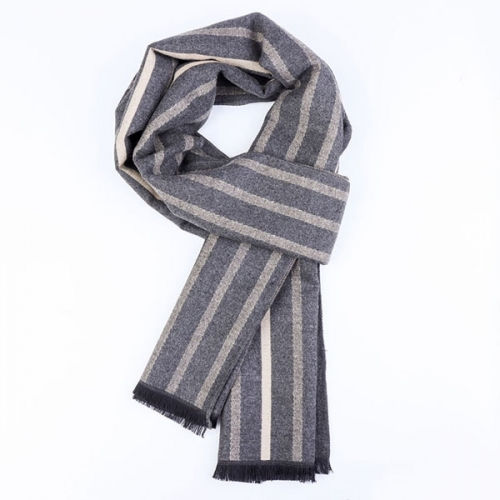 Gray striped scarf with gift case