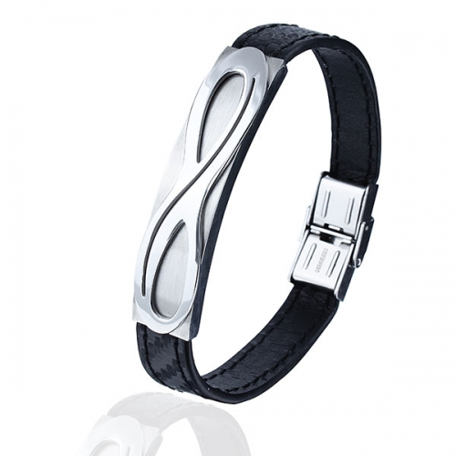 Belt Bracelets Leather with Nickel-free Stainless Steel Clasp