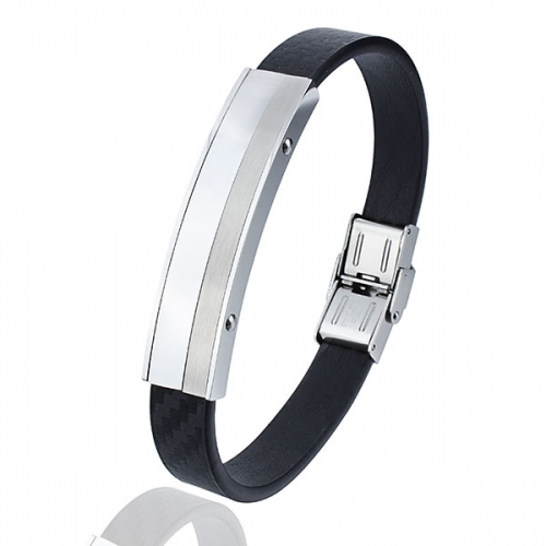 Carbon Fiber Men Leather Bracelet with stainless steel clasp
