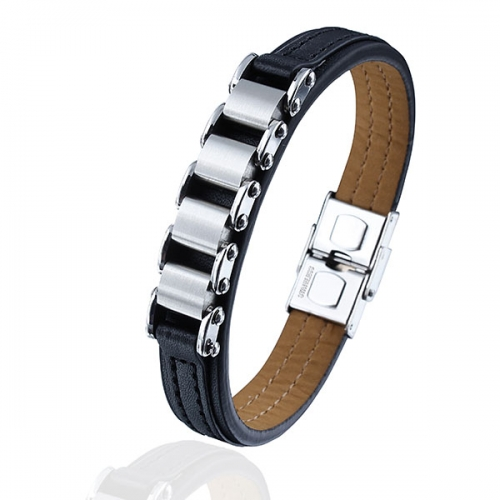 Chain & Leather Bracelet with Nickel-free Clasp for Men