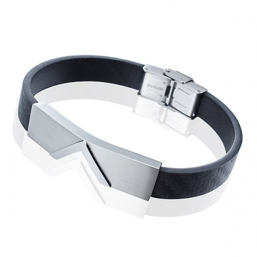 Metal Plated Leather Bracelet with stainless steel clasp