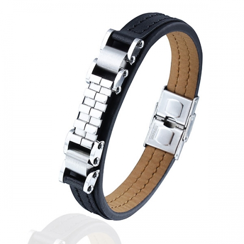 Stainless steel chain & leather bracelet with nickel-free clasp