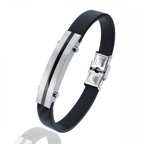 Fashionable Leather Bracelet with Nickel-free & Secure Stainless Steel Clasp