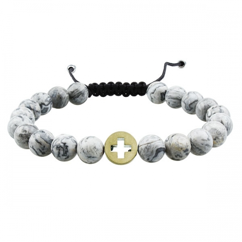 Map-stone Beaded Bracelet with Adjustable Rope