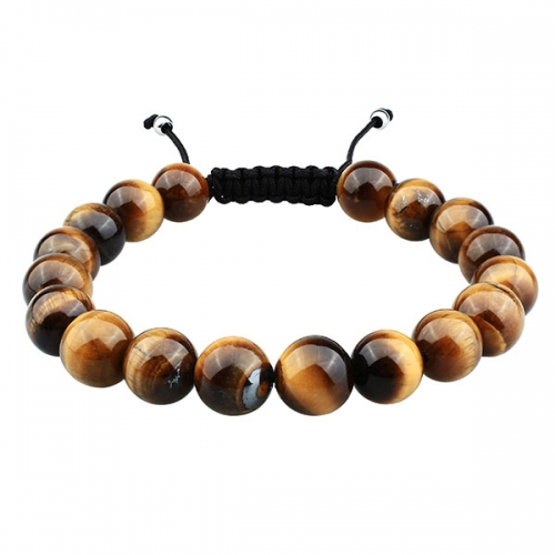 Multicolor Tiger's Eye Bracelet Custom with Adjustable Braided Rope