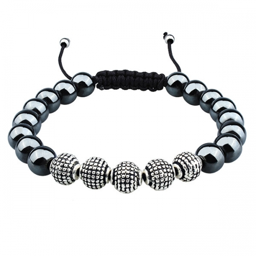 Iron stone beads bracelet anti-silver plated metal beads bracelet with adjustable rope