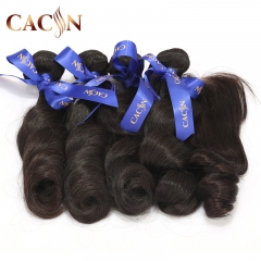 4 bundles and lace closure, virgin hair loose wave with closure, Brazilian hair bundles with lace closure