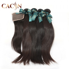Peruvian virgin hair straight 4 bundles with lace closure, 100% raw virgin hair, free shipping