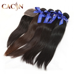 4 bundles hair with lace closure, straight weave with closure