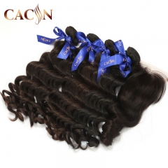 Brazilian hair 4 bundles with lace closure, Peruvian hair with lace closure, Indian hair bundles and lace closure