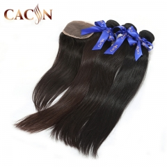3 bundles with lace closure, virgin hair straight, Brazilian hair, Peruvian hair, Indian hair, and Malaysian hair bundles with closure