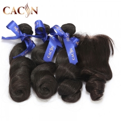 Loose wave 3 bundles with lace closure, virgin Brazilian hair, Peruvian hair, Indian hair, Malaysian hair, free shipping