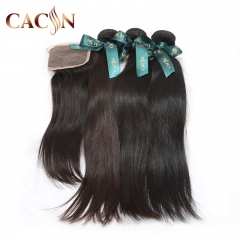 Peruvian virgin hair straight 3 bundles with lace closure, 100% raw virgin hair, free shipping
