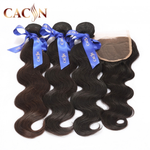 Virgin hair body wave 3 bundles with lace closure, Brazilian hair bundles with closure, Peruvian hair, Malaysian hair, and Indian hair with closure