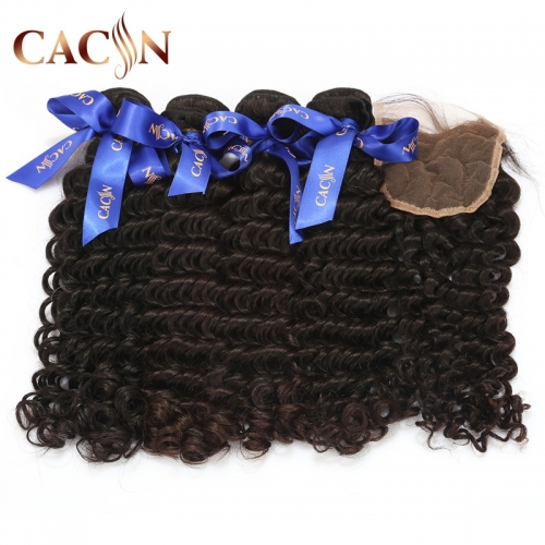 Deep curly 4 bundles and lace closure, Brazilian virgin hair with closure, Peruvian hair bundles with lace closure, Indian hair and closure