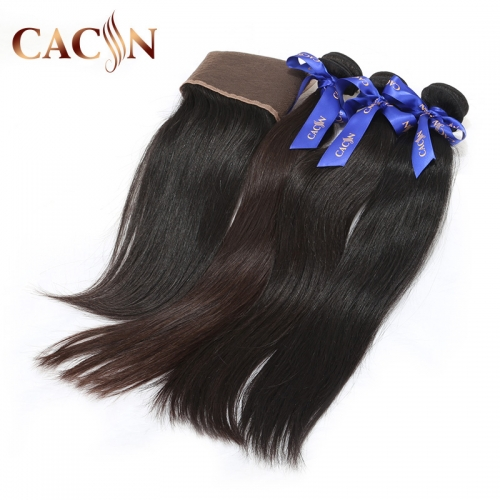 Virgin hair straight 3 bundles with lace frontal, Brazilian virgin hair, Peruvian hair, Malaysian hair, and Indian hair with frontal