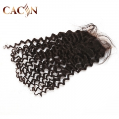 Virgin hair deep curly 4x4 lace closure, Brazilian Peruvian hair Indian and Malaysian lace closure.