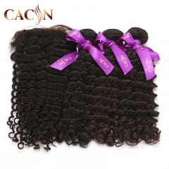 Indian virgin hair deep curly 3 bundles with lace frontal, 100% raw virgin hair, free shipping