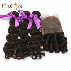 Indian Virgin hair natural wave 3 bundles with lace frontal, 100% raw virgin hair, free shipping