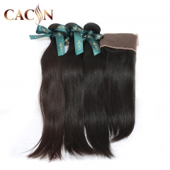 2 bundles straight hair with lace frontal, cuticle aglined raw virgin hair, virgin hair with frontal