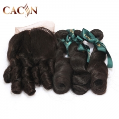 2 bundles hair and lace frontal, virgin hair loose wave, cuticle aglined raw virgin hair with frontal