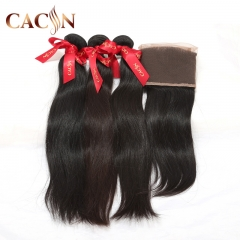 Malaysian virgin hair straight 2 bundles with lace frontal, cuticle aligned virgin hair, natural color, free shipping