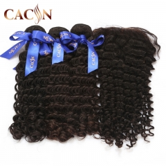 2 bundles with lace frontal deep curly, cuticle aligned raw virgin hair, Brazilian hair with frontal