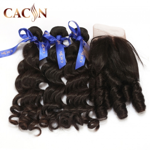 Brazilian hair 2 bundles with lace frontal, natural wave virgin hair, bundles deal and frontal