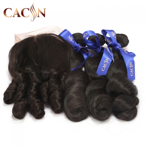 2 bundles and lace frontal, virgin Brazilian hair loose wave, cuticle aligned natural virgin hair