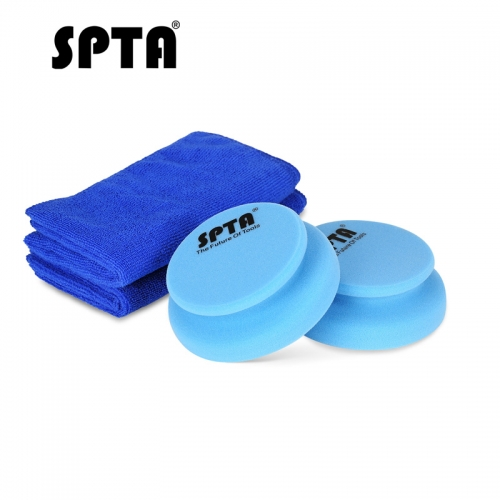 SPTA Hand Polishing Pad 100 x 120 mm Applicator Hand Pads + Surrounding Handle & 1Pc Microfiber Cleaning Cloth Towel Waxing