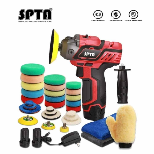 SPTA 12V Cordless Car Polisher Tool Set Cordless Drill Drive Variable Speed Polisher With Quick Charger and Polishing Pads