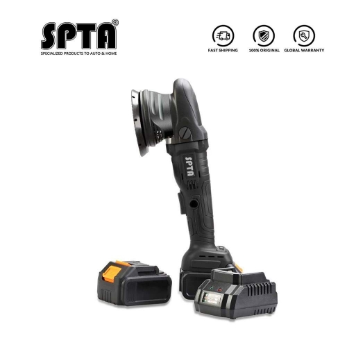SPTA 20V Cordless Car Polisher, 15mm Orbit 3000-5000rpm Variable Speed Polishing Machine