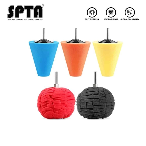 SPTA Burnishing Foam Sponge Polishing Cone Shaped Buffing Pad Car Wheel Hub Tool
