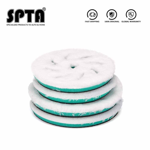 "SPTA 5"" 6"" Beveled Edge Polishing Disc Microfiber Fast Finishing Pad Auto Waxing Buffing Pads for DA/RO Car Polisher"